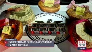 Encuentran 400 cartuchos escondidos en pan y tlayudas en San Pablo Huitzo