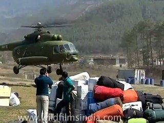Royal Nepal army MI8 helicopter taking off