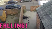 'CCTV Footage Shows Clumsy Woman Falling Over While Exiting a House'