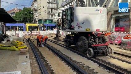 Rénovation des voies du tramway à Strasbourg durant l'été 2021