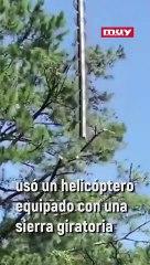 El helicóptero-sierra, el último invento a lo grande de EEUU para podar árboles