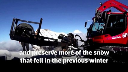 Blankets on Swiss mountain help protect glacier