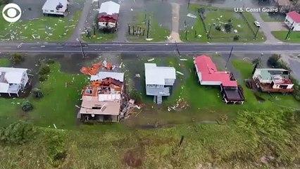 Coast Guard flies over Hurricane Ida damage in the Grand Isle, LA area