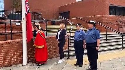 Raising the flag for National Navy Day