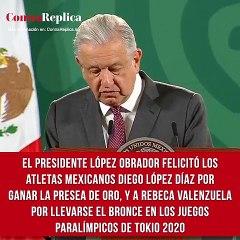 El presidente López Obrador felicitó los atletas mexicanos que participan en los Juegos Paralímpicos de Tokio 2020. A Diego López Díaz por ganar la presea de oro en natación, y a Rebeca Valenzuela por llevarse el bronce en lanzamiento de bala.