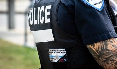 Le symbole controversé de la ligne bleue aperçu sur l'uniforme de policiers du SPVM