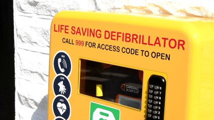 Launch of defibrillator outside Rosegrove Chippy
