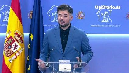 """Rufián, sobre la composición de la mesa de diálogo: """"Por primera vez se va a sentar un presidente del Gobierno"""""""