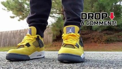 Air Jordan 4 Tour Yellow Lightning Sneaker On Feet Review