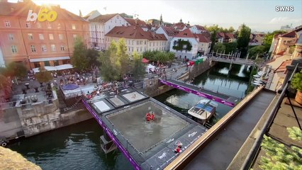 Must See! Stunt Teams Build World's First Trampoline Bridge for Insane Competition