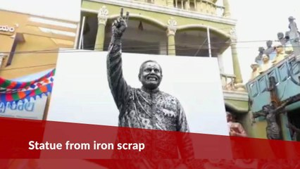 Father-son duo from Andhra make a statue of PM Modi using iron scrap