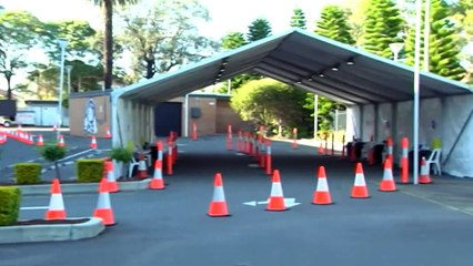 Drive-through vaccination hub opens in south-west Sydney