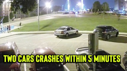 'Milwaukee, WI: CCTV footage shows two intense roundabout car crashes within 5 minutes of each other'