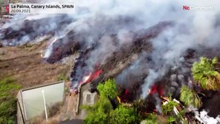 Canary Islands: Houses and crops are threatened by the lava flow.