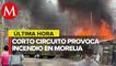Fuerte incendio consume ocho casas y dos vehículos en Morelia, Michoacán