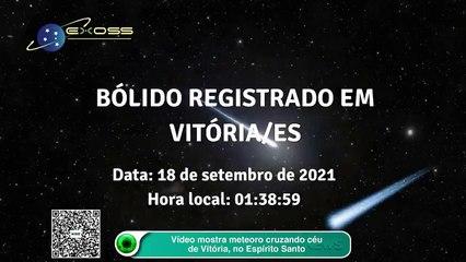Vídeo mostra meteoro cruzando céu de Vitória, no Espírito Santo