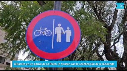 Alboroto en un barrio de La Plata le erraron con la señalización de la bicisenda