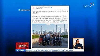 BTS, binisita ang Met Museum sa New York para ibigay ang artwork na regalo ng gobyerno ng South Korea | UB