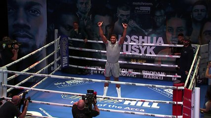Heavyweight boxers Anthony Joshua and Oleksandr Usyk take part in public workouts ahead of weekend bout