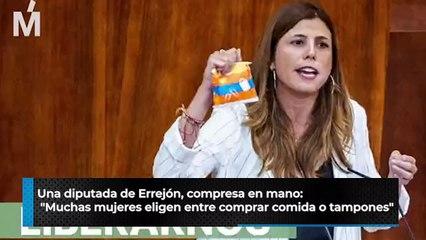 """Una diputada de Errejón, compresa en mano: """"Muchas mujeres eligen entre comprar comida o tampones"""""""