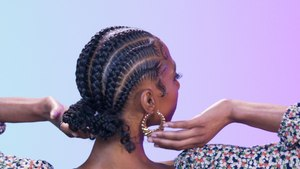 6 Stitch Braids with Curly Buns   Cosmo's The Braid Up