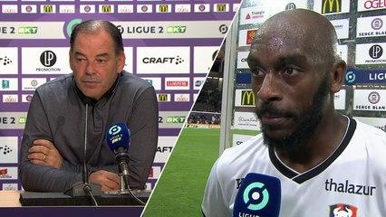 J10 Ligue 2 BKT : Les réactions de S.Moulin et J.Rivierez après Toulouse FC 2-3 SMCaen