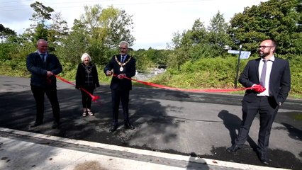 The Mayor of Lancaster officially opens Lancaster's Flood Defence system