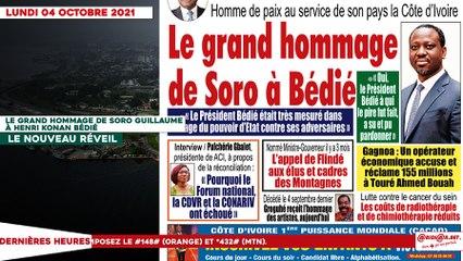Le titrologue du Lundi 04 Octobre 2021/ Le grand hommage de Soro à Bédié