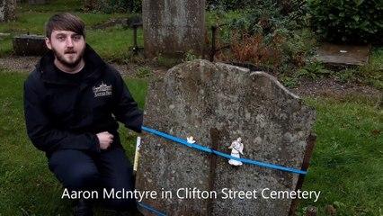 Aaron McIntyre in Clifton Street Cemetery.