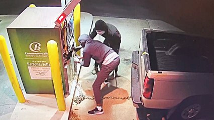 Thieves rip open ATM with stolen truck