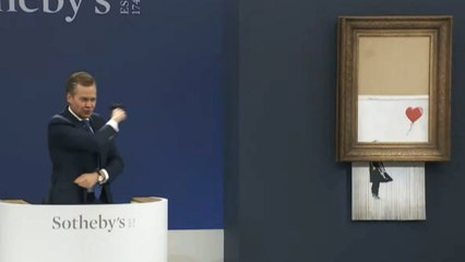 Half-shredded Banksy sets auction record with £16m sale