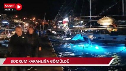 Bodrum'da fırtına tekneleri batırdı, ilçede hayatı felç etti