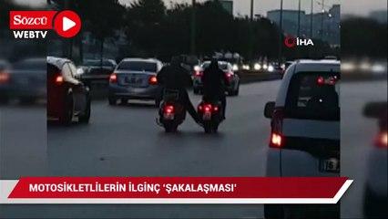 Bursa'da iki motosikletinin ilginç anları kameralara yansıdı