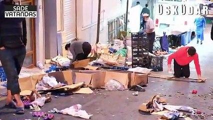 """Üsküdar'daki pazarda, vatandaşlar artıkları topluyor: """"Hasat zamanı, en bol mevsim ama kimse alamıyor"""""""