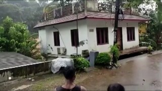 House gets swept away during a flood in Kerala, India
