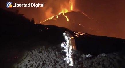 Así trabaja la UME a más de 1000 grados de temperatura sobre la lava de La Palma