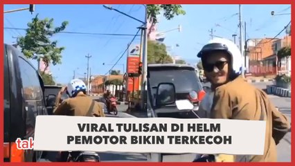 Viral Tulisan di Helm Pemotor Bikin Terkecoh, 'Bacanya Auto Deg-degan'