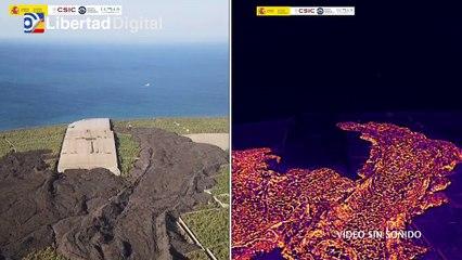 La nueva colada de lava en La Palma vista en imagen a color y térmica