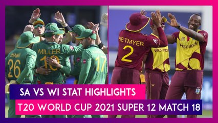 SA vs WI Stat Highlights T20 World Cup 2021: Proteas Register First Win of the Tournament
