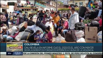 teleSUR Noticias 15:30 27-10: 2021 año con más desplazamientos forzados en Colombia