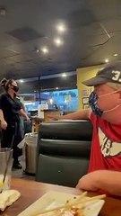 Un homme agressif ne veut pas porter le masque dans un restaurant et se fait calmer !