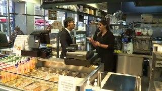 Rishi Sunak stops off at sweet stand on Bury Market visit