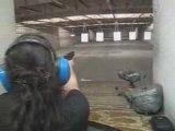Agnes shooting a Glock 9mm