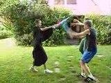 Combat au sabre laser mace windu et obi wan contre vador