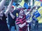 champs elysées avec les supporters du Stade toulousain