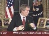 George W Bush clowning around before announcing the Iraqi Wa