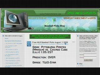 FREE MLB Baseball Picks Saturday, August 2, 2008