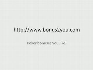 poker bonus full tilt poker bonus