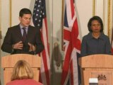 David Miliband pays tribute to Condoleezza Rice