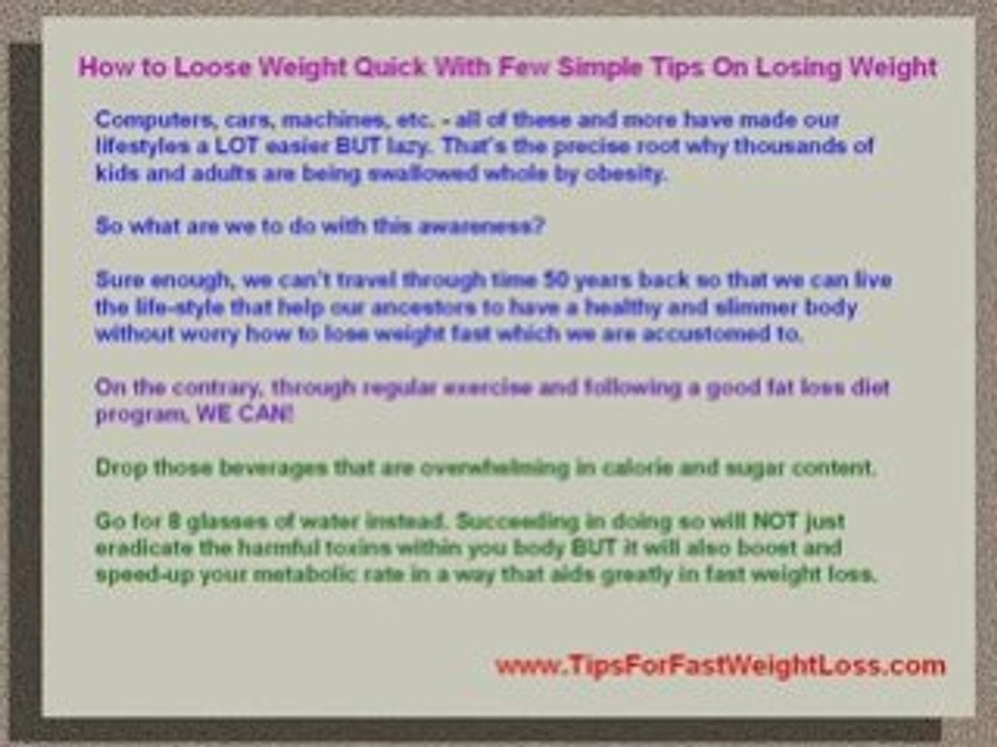 How To Loose Weight Quick With Simple Tips On Losing Weight Video Dailymotion